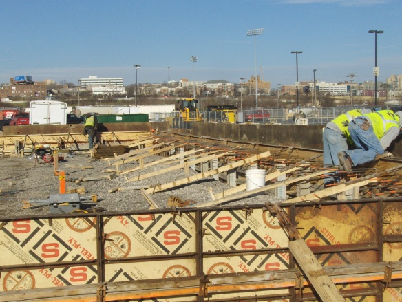 Pouring exterior grade beam at the waste unloading area1