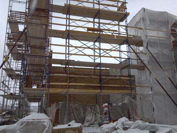 Potawatomi Digester Wall Construction - Scaffolding