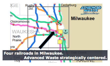 Advanced Waste Services is strategically centered in the middle of the railroads for railcar cleaning.