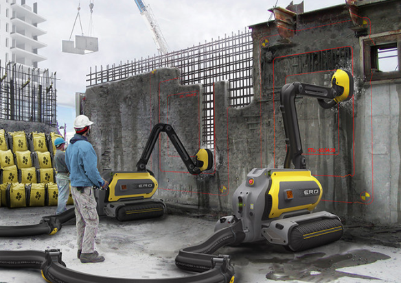 """""""Highly pressurized jets of water through the robot's head break concrete down into a slurry that is packaged and recycled .The water extracted from the concrete is captured and reused to clean excavated steel rebar of dust and rust."""" (photo credit: fastcodesign.com)"""