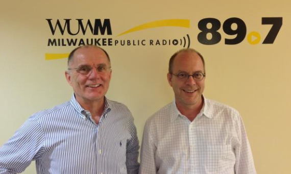 WUWM Host Tom Luljak interviews Jim Wasley, associate professor of architecture at UW-Milwaukee. (Photo Credit - Jon Strelecki)