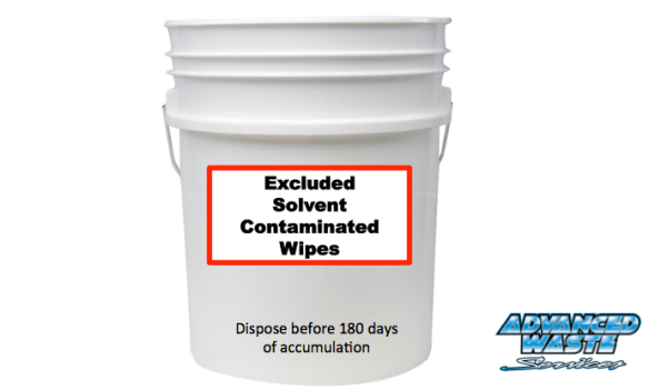 "The container standard to meet the exclusion for solvent-contaminated disposable wipes must be accumulated, stored, and transported in non-leaking, closed containers that are labeled ""Excluded Solvent-Contaminated Wipes."""