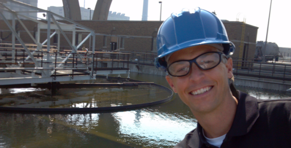 To celebrate the Grand Opening of the Global Water Center in Milwaukee, Veolia Water hosted a tour of its wastewater treatment operations. Bill Christel, Advanced Waste Services VP of EH&S, catches a view of the primary treatment system.