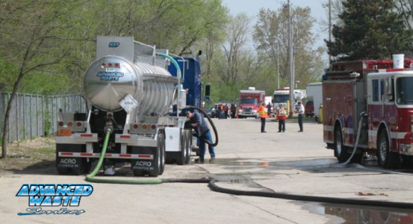 Advanced Waste Tanker Truck at Spill site