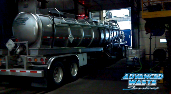 Tanker truck rolling out of loading bay. Headed to Chicagoland and Rockford area.