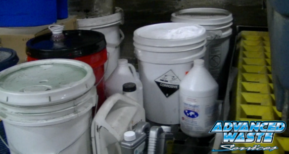 Small containers of hazardous wastes for disposal