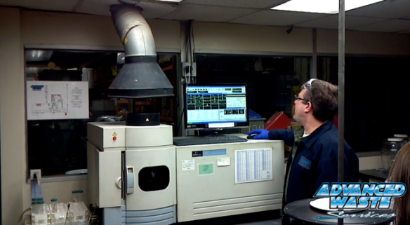 Sr. Lab Manager, Bill Fowler checks the metals percentages using an ICP.