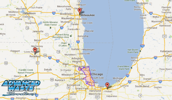 Vacuum Truck Services in Chicago map