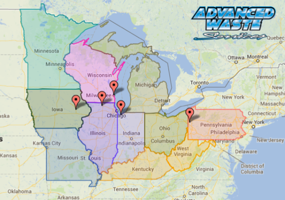 Color coded map of midwest states with vacuum truck services.