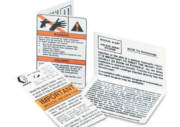 """We all carry these wallet sized cards when we use the Water Blaster. It contains the important medical information if an injury occurs from using the Water Blaster,"" shares Derrick Lancour, AWS Industrial Services Specialist."